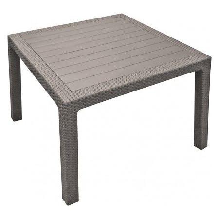 Čtvercový zahradní stůl ratanového vzhledu, hnědý