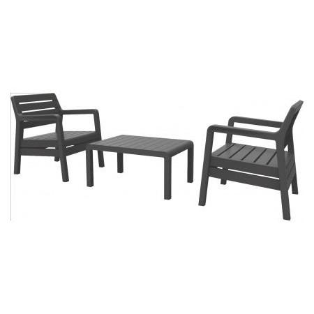 Balkonový set plastového nábytku, stůl + křesla, grafit