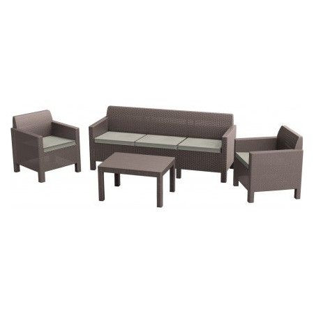Rodinná sada ratanového nábytku vč. polstrování, cappuccino + písek