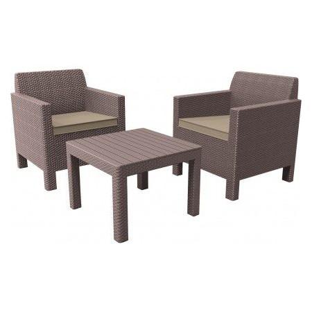 Polyratanový zahradní nábytek, čtvercový stůl + křesla, cappuccino