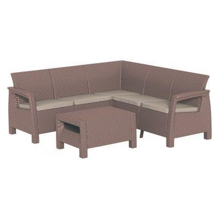 Zahradní ratanový nábytek s rohovou lavicí, cappuccino