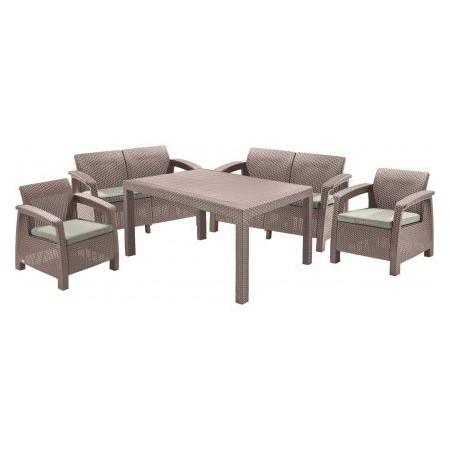 Velký rodinný set ratanového nábytku vč. polstrů, cappuccino