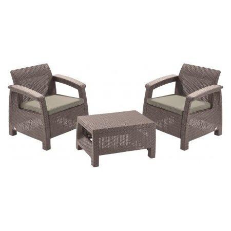 Menší zahradní polyratanový set nábytku, stolek+ 2 křesílka