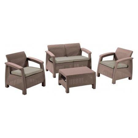 Polratanový set venkovního nábytku vč. polstrování, cappuccino
