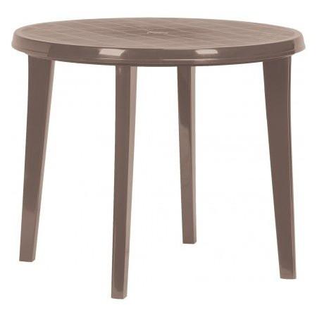 Kulatý plastový stůl s otvorem pro slunečník, cappuccino