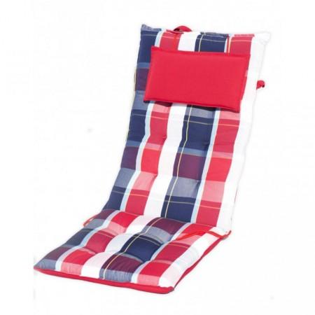 Polstrování na zahradní křeslo s vysokým opěradlem, modrá / červená