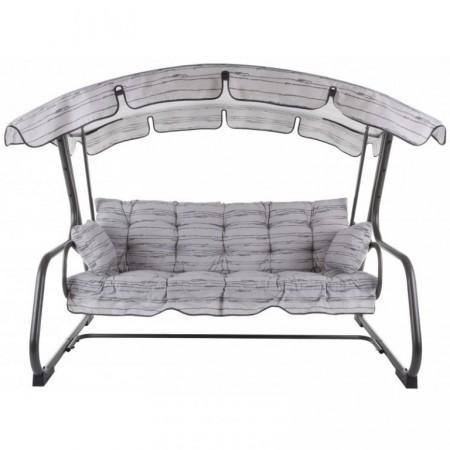 Luxusní rodinná zahradní houpačka, kovový rám, šedá s pruhy