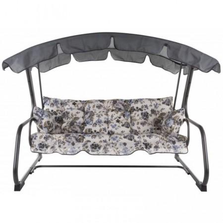 Luxusní rodinná zahradní houpačka, kovový rám, květovaný motiv