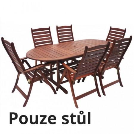 Zahradní dřevěný stůl oválný, tvrdé dřevo MERANTI