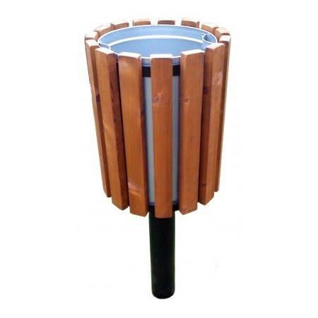 Parkový odpadkový koš na stojanu 45 l, kov / dřevo