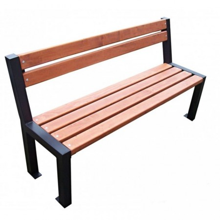 Venkovní dřevěná lavička s kovovým rámem k přišroubování