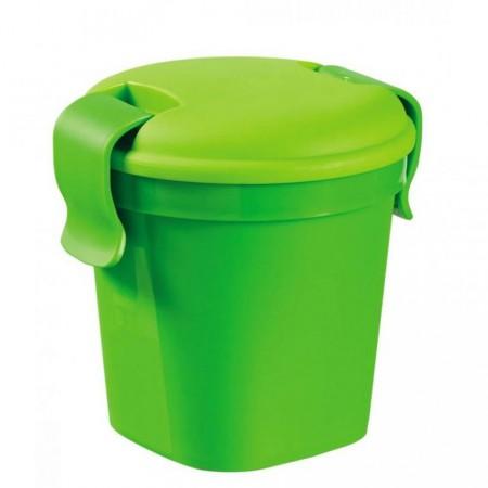 Plastový hrnek s pogumovaným víkem na potraviny, zelený