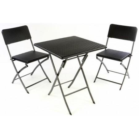 Skládací venkovní posezení, stůl + 2 židle, ratanový vzhled
