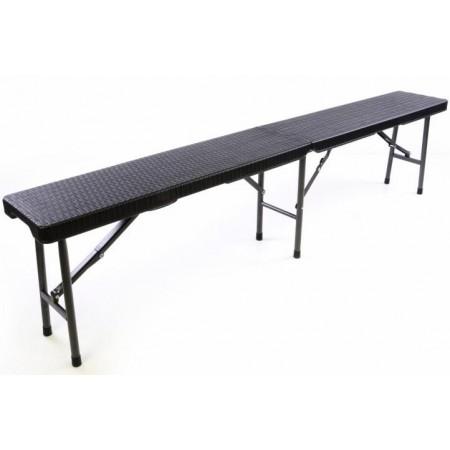 Venkovní skládací lavice s kovovou konstrukcí, ratanový vzhled