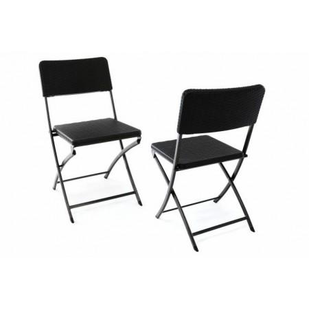 2 ks skládací balkonová židle s kovovou kostrou, ratanový vzhled