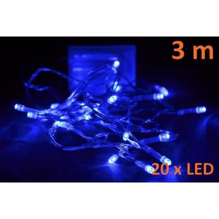 Řetěz na vánoční stromek modrý, 20 LED, 3m