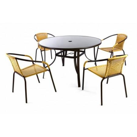 Set venkovního nábytku, kulatý stůl + 4 židle s polyratanovým výpletem