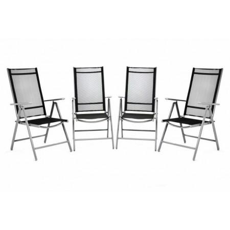 4 ks kovová zahradní židle s nastavitelným opěradlem, černá
