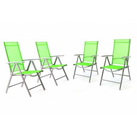 4 ks hliníková venkovní židle s nastavitelným opěradlem, zelená