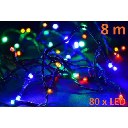 Barevný vánoční řetěz, 80 LED diod, 8 m