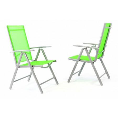 2 ks hliníková zahradní židle s polohovatelným opěradlem, zelená