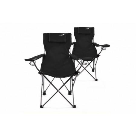 2 ks skládací kempinková židle s područkami, černá