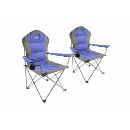 2 ks pohodlnná skládací rybářská židle, modrá / šedá