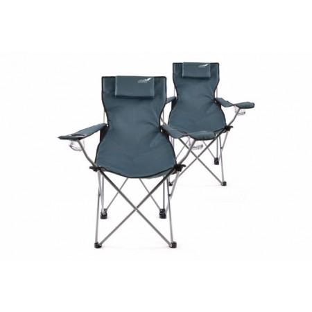 2 ks kempinková židle s držákem nápojů, skládací, modrá
