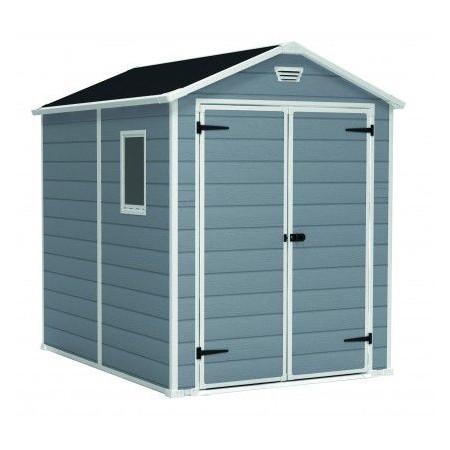 zahradní domek na nářadí plastový, 237x227x186 cm, šedá / bílá