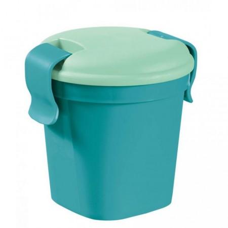 Designový hrnek na potraviny s víkem, malý , modrý