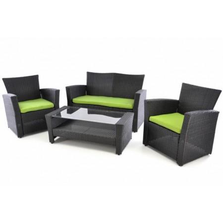 Set designového zahradního ratanového nábytku, černá / zelená