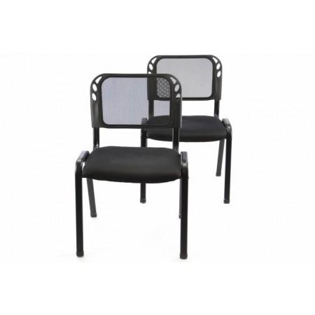2 ks stohovatelná židle s ocelovým rámem, černá