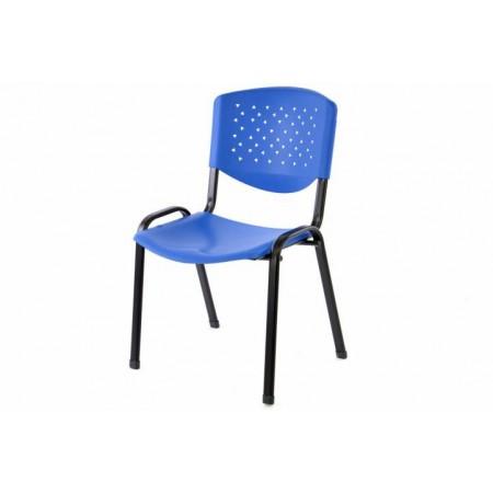 Stohovatelná židle s kovovým rámem, plastový sedák a opěrka, modrá