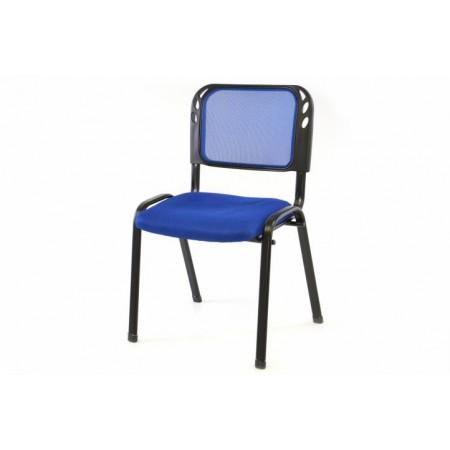 Stohovatelná židle s ocelovým rámem, modrá
