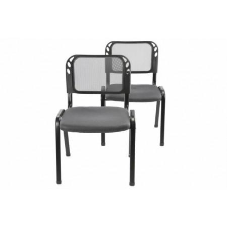 2 ks stohovatelná židle s ocelovým rámem, šedá