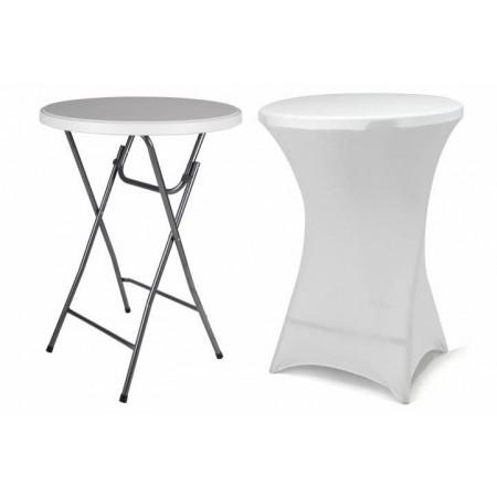 Skládací stolek s elastickým designovým potahem, bílý