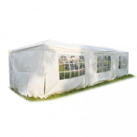 Velký párty stan 3x9 m, boční stěny s okny, bílý