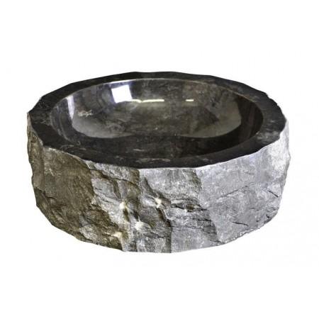 Designové kruhové umyvadlo z přírodního kamene, černý mramor