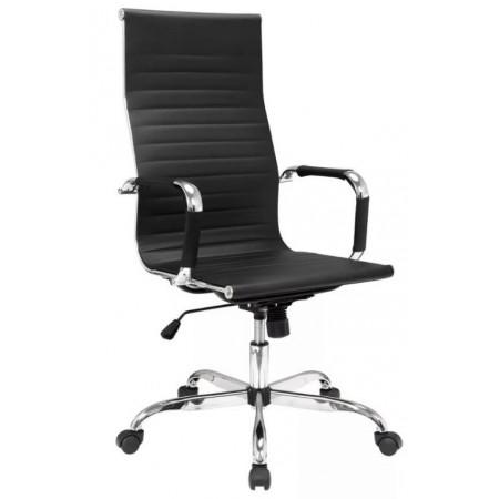 Otočná židle na kolečkách, synchronní mechanika s houpáním, černá / chrom