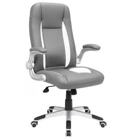Pohodlná kancelářská židle, eko kůže, šedá / bílá
