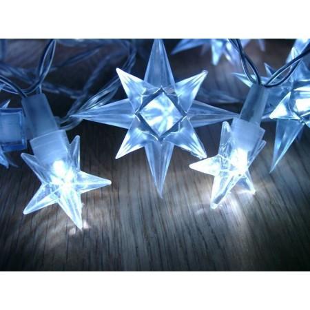 Světelný LED řetěz venkovní / vnitřní, hvězdy, modrá, 4 m