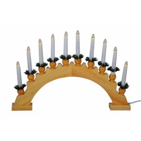 Dřevěný vánoční svícen s LED diodami, klasický vzhled svíček, 47 cm