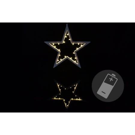 Vánoční dekorace - hvězda - 20 LED, teplá bílá