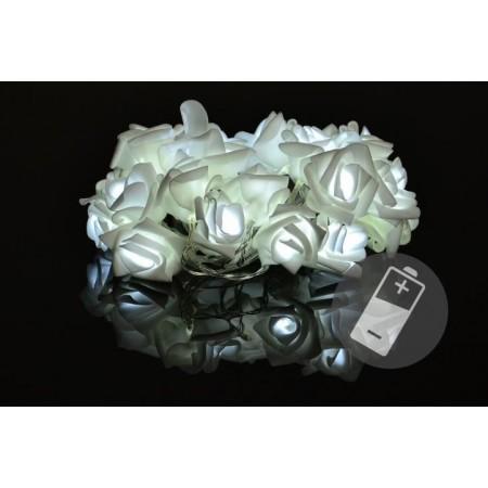 Bytové dekorativní osvětlení - řetěz s kvítky růží na baterie, 20 LED diod