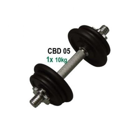 Jednoruční nakládací činka s kovovými kotouči 10 kg