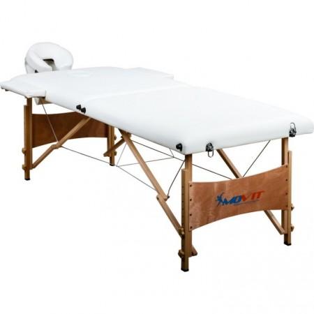 Skládací masážní lehátko s nastavitelnou výškou, bílé