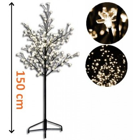 Ozdobný umělý strom se svítícími květy venkovní / vnitřní, 150 cm