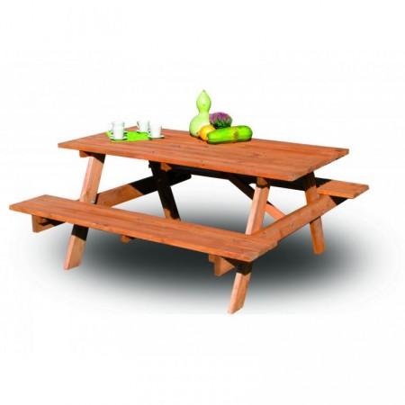 Sestava zahradního dřevěného nábytku - stůl s lavicemi