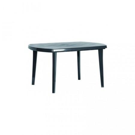Venkovní plastový stůl oválný, otvor pro slunečník, grafit
