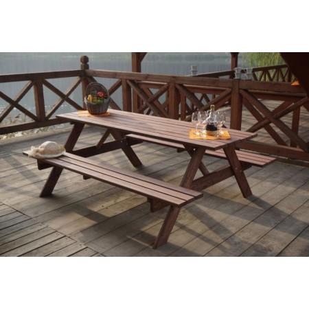 Venkovní sestava nábytku ze dřeva - stůl s lavicemi 220 cm